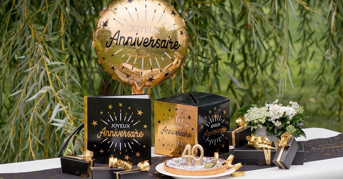 Anniversaire-Noir-Or-Decoration-Table